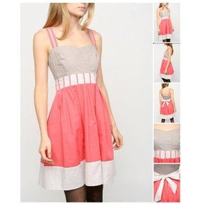 UO Silence + Noise Coral and Gray Dress